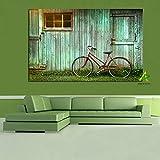 Fahrrad auf der alten Hütte Leinwand Malerei Wandfotografie Hintergrundbild Wandkunst Wohnzimmer Dekor rahmenlos A 60X90CM