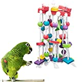 Bird Parrot Toy, Knots Block Parrot Chewing Toys with Number Wooden Blocks and Bells for Small Medium Large Parrot, Natural Wooden Coconut Shell Tearing Toys for Conures, African Grey, Cockatoo