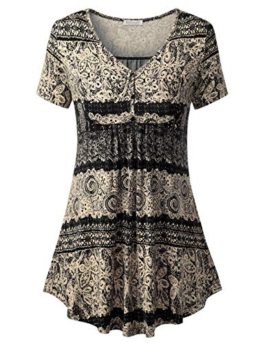 BAISHENGGT Women's V Neck Buttons Pleated Flared Tunic Tops Black - Tribal M