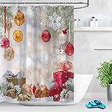 LB Weihnachten Duschvorhang 180X200cm Roter Weihnachtsball,Schnee,Traumhaft Bad Vorhänge Extra Lang Polyester Wasserdicht Antischimmel Badezimmer Vorhang mit Haken