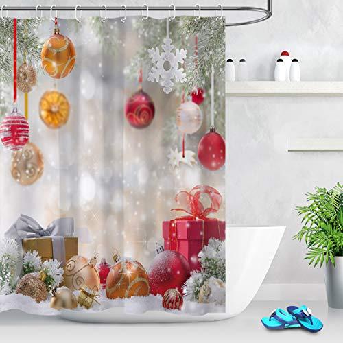 LB Weihnachten Duschvorhang 180X200cm Roter Weihnachtsball,Schnee,Traumhaft Bad Gardinen Extra Lang Polyester Wasserdicht Antischimmel Badezimmer Vorhang mit Haken