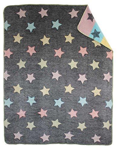 Moon Sterne bunt Wolldecke Kuscheldecke 150x200