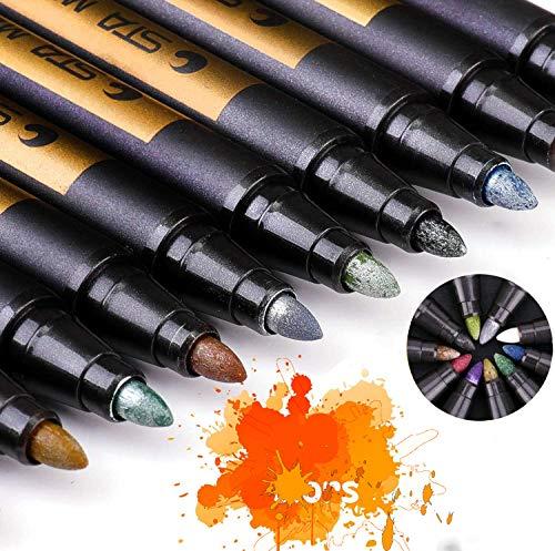 YCZ Metallic Markierungsstifte, 10 Farben, Verwendung auf jedem Papier, Glas, Kunststoff, Keramik, Holzoberfläche - mittlere Kugelspitze