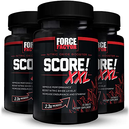 Force Factor Score! XXL Nitric Oxide Booster Supplement for Men with L-Citrulline, Black Maca, & Tribulus to Improve Athletic Performance, Increase Stamina, and Support Blood Flow, 90 Tablets (3-Pack)