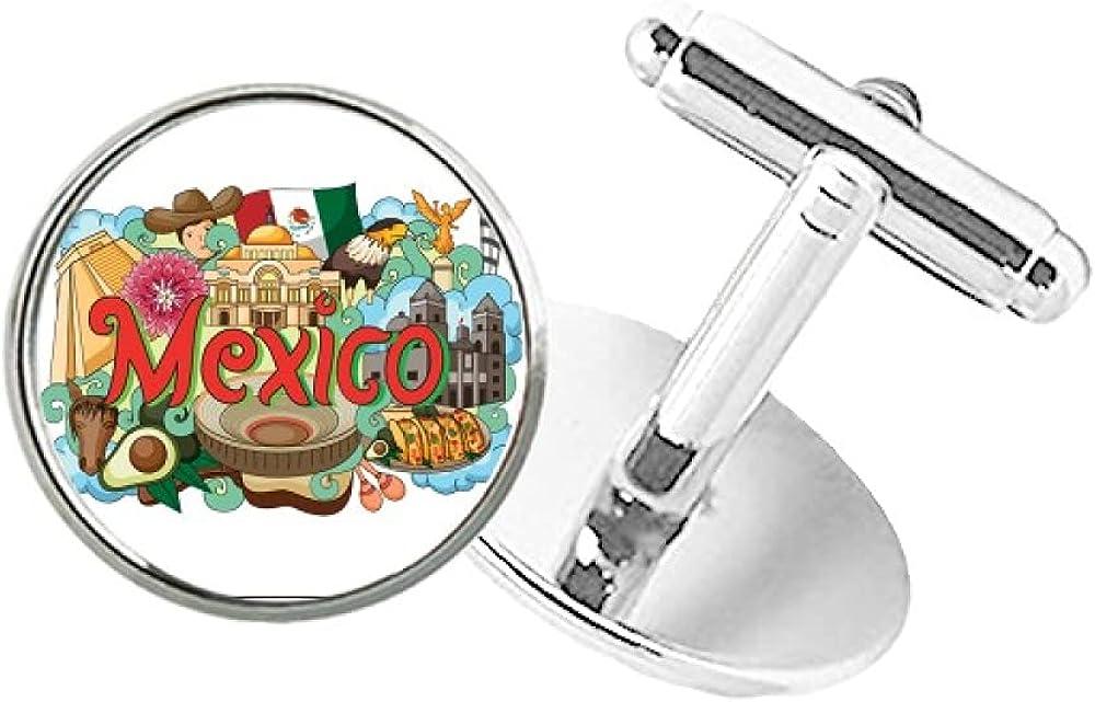 DIYthinker Teotihuacan Sintagma Mexico Graffiti Round Button Cuff Clip Stud Cufflinks