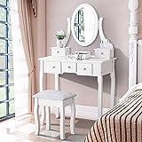 Iglobalbuy Tocador, Escritorio de Maquillaje con Taburete, Mesa de cosmética Blanca con Espejo para el Dormitorio (BDT1255)