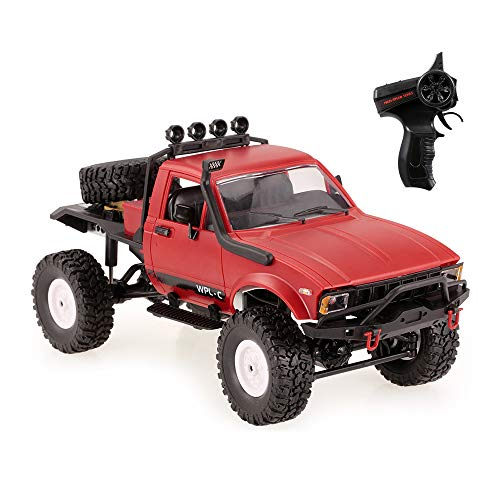 GoolRC C14 RC Car for Adults and Kids, 1/16 Scale 2.4GHz 4WD Remote Control Car, Off-Road Semi-Truck, RC Crawler with Headlight RTR (Red)