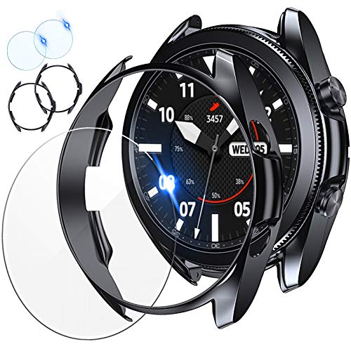 [2+2Pack] Tensea Compatible Samsung Galaxy Watch 3 45mm Screen Protector and Case, 2 Pack Tempered Glass Protective Film and 2 Pack TPU Watch Cover Accessories Set for Galaxy Watch3 45, Titanium, 41mm