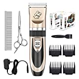 Everesta Dog clippers, Low Noise Rechargeable Cordless Pet Dogs and Cats Electric Grooming Clippers Kit with Shears and Comb (Gold+Black)