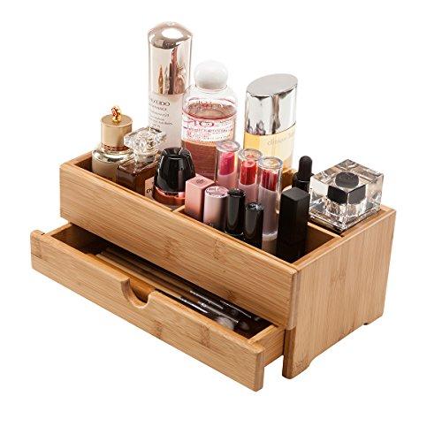 gobam bambú organizador de maquillaje cosméticos caja de almacenamiento con 1cajón para productos de belleza y joyería, compatible con varias cosméticos y accesorios, Natural