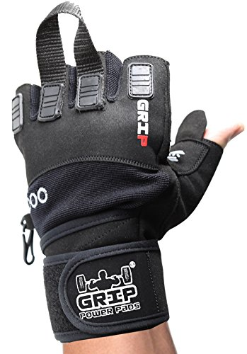 Grip Power Pads NOVA 2018 Gym Weight Lifting Gloves with Wrist Wraps Support Pro Padded for Powerlifting Cross Training Workout Best for Men & Women (1 Pair) (X-Large, Black)