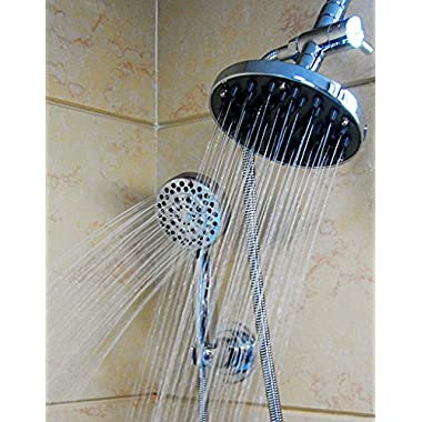 WantBa Ultra-luxury Rainfall/handheld Spa shower Combo with 6 Feet Stainless Steel hose High Pressure Wall Mount Shower Head Plus 5 Setting Handheld and Suction Cup Handheld Holder Polished Chrome