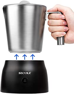 Secura 4 in 1 Electric Automatic Milk Frother and Hot Chocolate Maker Machine 17oz/500ml foam Stainless Steel Dishwasher Safe Cordless Removable Milk Jug