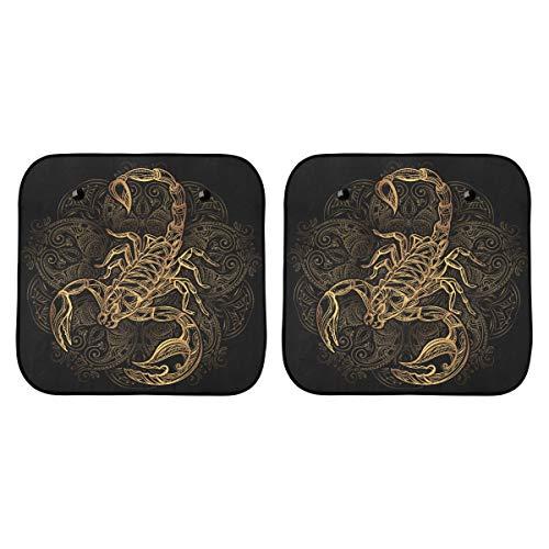 Cortinas para ventanillas de automóvil Tatuaje de escorpión Imagen de escorpión de oro adornado en silla plegable Bl con sombrilla plegable de 2 piezas para la mayoría de los vehículos deportivos uti