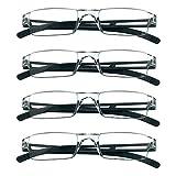 4 pares de gafas de lectura, gafas de bloqueo de luz azul, gafas de lectura para computadora para mujeres y hombres, marco cuadrado de moda (4 Nero, 2.25 aumentos)