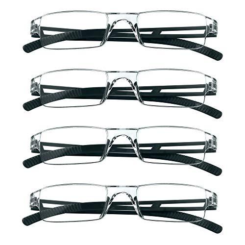 4 Paar Lesebrillen, Blaulicht-Blockierbrille, Computer-Lesebrille für Damen und Herren, Brillengestell mit rechteckigem Mode-Design (Schwarz, 1.50)