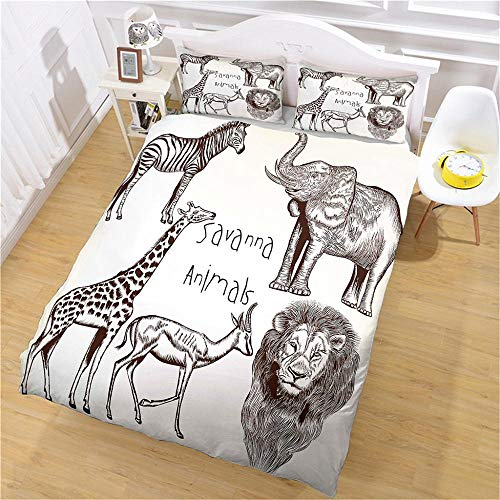 Double Duvet Covers Set 3Pcs Soft Comfortable Lightweight Bedding Set Animal for Kids Boys Girl Microfibre Three Piece 2 Pillowcases with Zipper Closure(200X200cm)