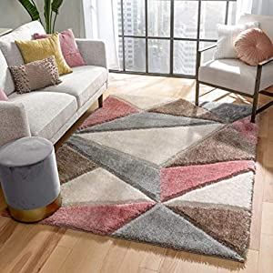 Well Woven Walker Grey & Blush Pink Triangle Boxes Thick Soft Plush 3D Textured Shag Area Rug 5×7 (5'3″ x 7'3″)