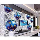 Eigene 3d Fototapete Frohe Weihnachten Farbkugeln 3D-Foto Sofa TV-Hintergrund Wohnzimmer Vliestapete Aufkleber Weihnachtsgeschenk Ein Quadratmeter