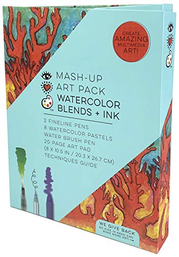 iHeartArt Mash-Up Art Pack Watercolor Pastel Blends + Ink Total Art Set by Bright Stripes - Watercolor Pastel Kit with Fineline Pens Water Brush Pen and 20 Page Art Pad