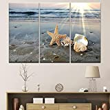 MOLVSENLIN Imágenes de la Pared Modular Impresiones de Arte Poster Fashion 3 Set Beach Sea View Decoration Hogar para la cita-40cmx80cmx3pcs sin Marco