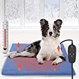 Pet Heating Pad, Dog Electric Heat Pad with Timer, 75x45CM Waterproof Heating Pad for Dogs, Indoor Safety Temperature Adjustable Heated Cats Mat Bed for Pets with 210CM Chew Resistant Steel Cord
