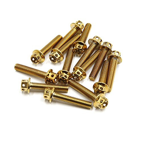 sourcing map 14Pcs M6 X 30mm Tornillos de Fijación Tono Oro