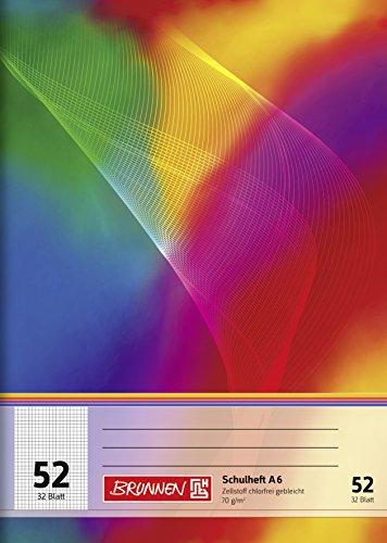 Brunnen 1046922 Schulheft (A6, 32 Blatt, kariert, Lineatur 52)