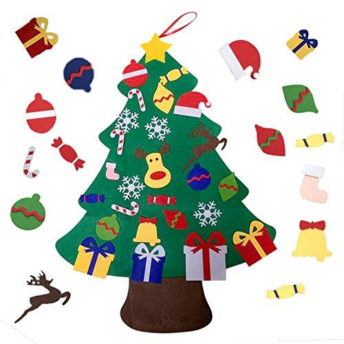 viviyi Árbol de Navidad de Fieltro, DIY Decoración Navideña para Niños, Adornos Desmontables, Árbol Navidad Decoración de la Pared de la Puerta para Niños,Regalo de Año Nuevo