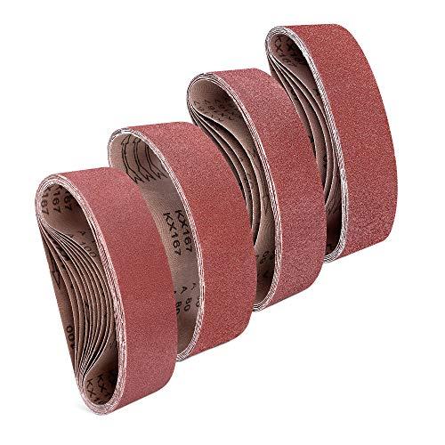 Navaris 25x Schleifband für Bandschleifer - 40-100 Körnung - 75 x 533mm - Schleifbänder Schleifpapier für Bandschleifmaschine - Bandschleifpapier