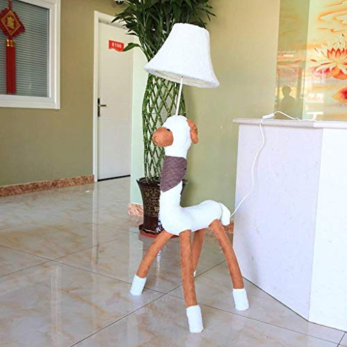 BINGFANG-W Dormitorio Llevó la historieta creativa lámparas de pie, ovejas paño de la lámpara de alpaca Duque de la lámpara de la sala de la lámpara habitación Eye-Cuidado Vertical Planta luz de la ha