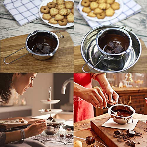 304 Stainless Steel Double Boiler Pot, Melting Pot with Large Serving Spoon for Butter Chocolate Candy Butter Cheese,Candle Making Kit with Capacity of 600ml/20oz
