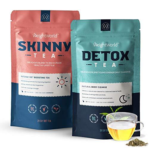 Premium Tee Set zum Abnehmen - Detox Tee & Skinny Tee - 28 Tage Entgiftung und Entschlackung - Ohne Zusatzstoffe - 100{3c8be2c81e61067aae920dac3509bc7775cd6e03861abbb8dd779a4749ee8e7d} Natürlich & Vegan - Mit Brennessel, Löwenzahn & Grüner Tee - 56 Teebeutel