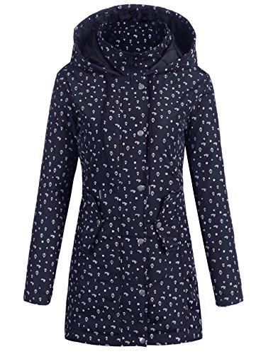 Parabler Damen Softshelljacke Leichte Jacke Übergangsjacke Winddichte Jacke mit Hoher Kragen und Kapuze Außen Parka Steppmantel