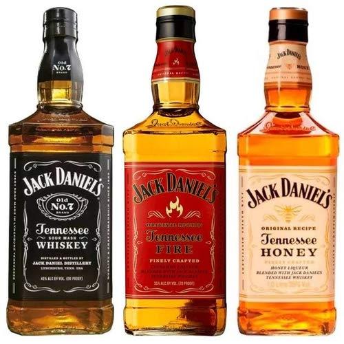 Kit Whisky Jack Daniels 1 Litro Honey - Fire - Old N7