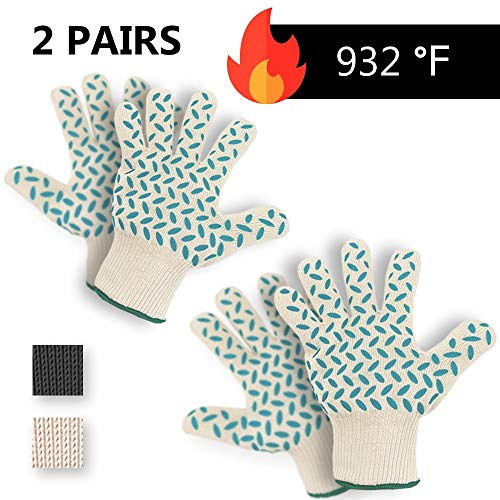 2 PAIRS Heat Resistant Gloves Oven Gloves Heat Resistant BBQ Gloves For Grilling BBQ Gloves Heat Resistant Cooking Heat Resistant Gloves Kitchen Heat Gloves High Temp Grill Gloves with Silicone
