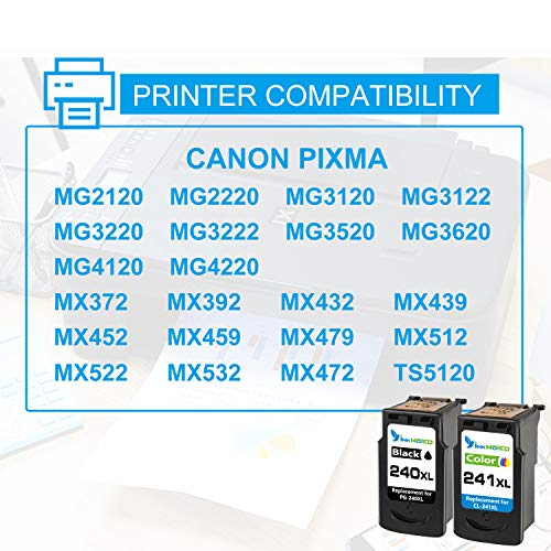 InkWorld Remanufactured 240XL 241XL Ink Cartridge Replacement for Canon PG-240 CL-241 XL to Use with Pixma TS5120 MG3620 MG3520 MX472 MG3220 MX452 MX532 MX512 MG2120 MX432 Printer (Black Color) 2-Pack Photo #6