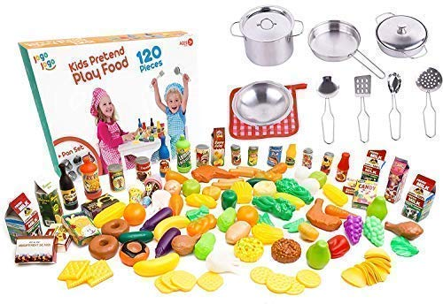 Kids Play Kitchen Accessories Sets Kids pots and Pans Set with Plastic Food Kitchen Sets. Kids Play Food for Kids Kitchen Utensils Set Kitchen Play Set Pretend Food Play