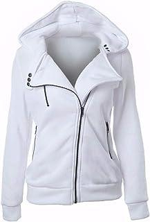 White Shirt Neck Hoodie & Sweatshirt For Women
