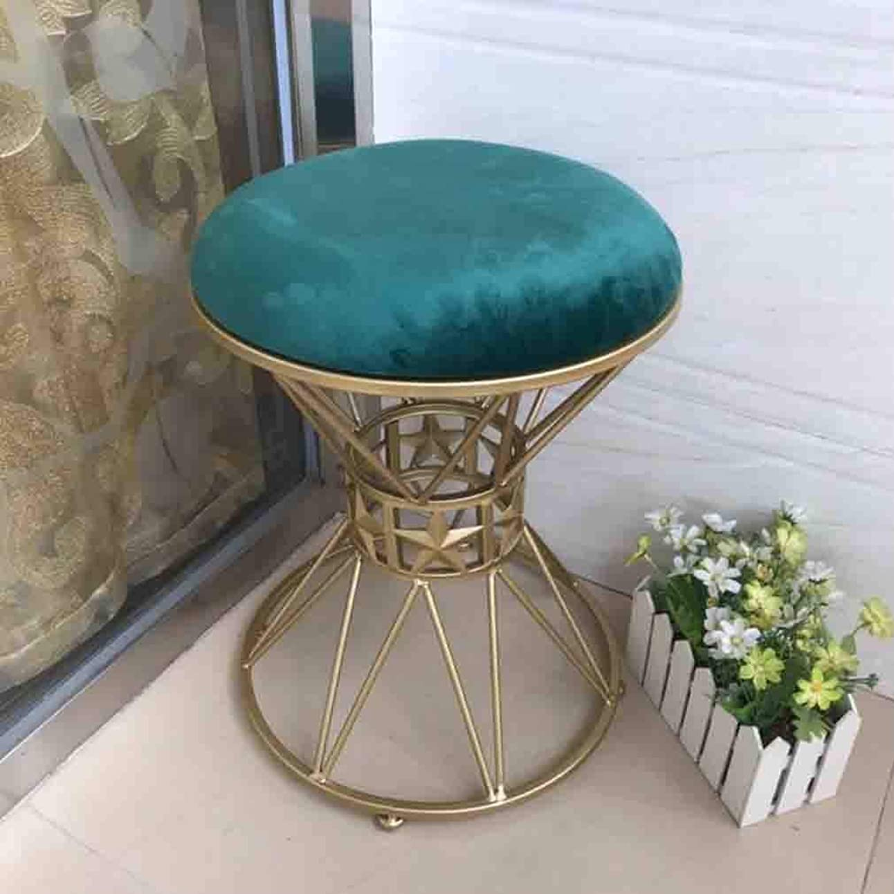 バレルディスコ毒STAR-LIFE化粧スツールメタルラウンドドレッシングテーブルスツール布張りフットスツール椅子シートベンチバニティベルベットスツール(色:緑)