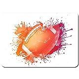 YANAIX Tapis de Bain,Ballon de Rugby dans des aquarelles numériques Splash Loisirs récréatifs Sports Run Design,Lavable de Haute qualité Absorbant Antidérapant 75X45cm