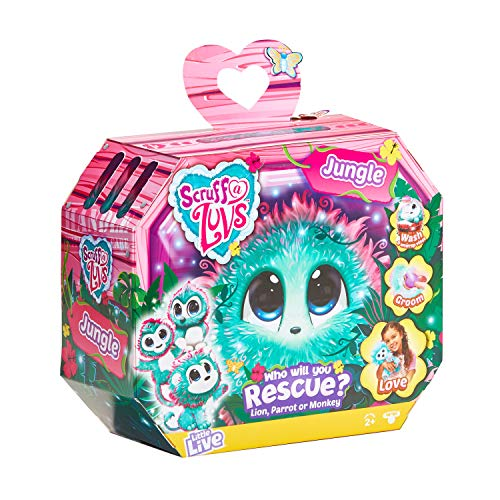 Scruff-A-Luvs Jungle Surprise Rescue - Peluche a forma di leone, pappagallo o scimmia