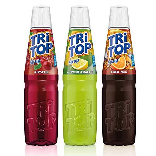 TRi TOP Getränkesirup 3er Set | Orange-Cola-Mix, Zitrone-Limette, Kirsche | 3x600ml [5Liter Erfrischungsgetränk pro Flasche]