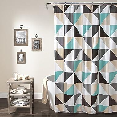 Lush Decor Abner Geo Shower Curtain, 72  x 72 , Turquoise