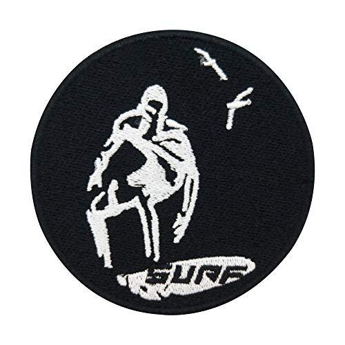 Finally Home Surfer auf Surfbrett reitet Welle Patch zum Aufbügeln | Meer Möwe Patches, Bügelflicken, Flicken, Aufnäher