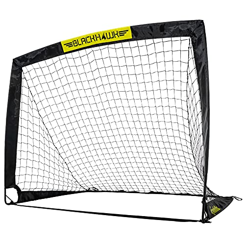 Franklin Sports Portable Soccer Goal - Blackhawk Pop-Up Folding Soccer Net - Indoor and Outdoor Soccer Goal - Easy Storage - 4' X 3' Soccer Goal