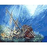 Bhgvtz Naufragio en el Mundo Submarino Pintura al óleo de Bricolaje para Adultos y niños. Pintar por número Pintar Todo Tipo de óleos y complementos Sin Marco 40x50cm