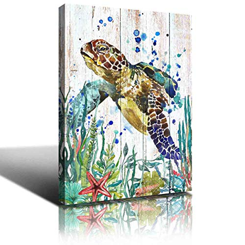 Turtles Canvas Wall Art Decor for Bathroom Watercolor Sea Nautical Prints Picture 12x16' Ocean Life Painting Wood Texture Background Beach Theme Artwork 1 Panel Framed Bedroom Home Kitchen Decoration