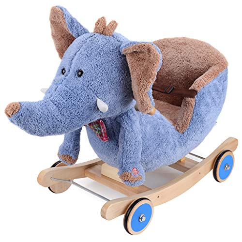 Buy Discount Rocking horse Children's Music Dual-use Infant Plush Rocking Chair Small Trojan Baby & Toddler Toys HUYP
