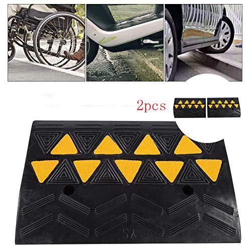 Rampa de goma, 2 piezas, rampa para bordillos, umbral de puerta, rampa para coche, moto, silla de ruedas, tipo opcional